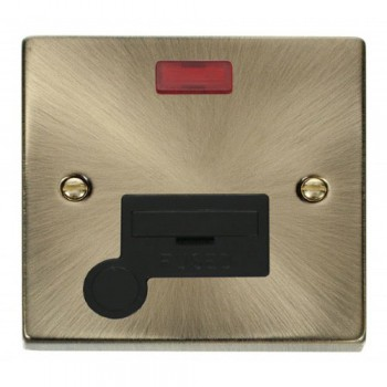 Click Deco Victorian Antique Brass 13A Fused Connection Unit With Flex Outlet with Neon with Black Insert