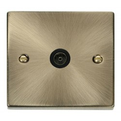 Click Deco Victorian Antique Brass Single Coaxial Socket Outlet with Black Insert