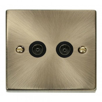 Click Deco Victorian Antique Brass Twin Coaxial Socket Outlet with Black Insert