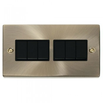 Click Deco Victorian Antique Brass 6 Gang 2 Way 10AX Switch with Black Insert