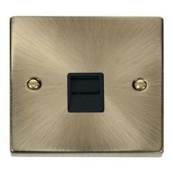 Click Deco Victorian Antique Brass Single Telephone Socket Outlet Secondary with Black Insert