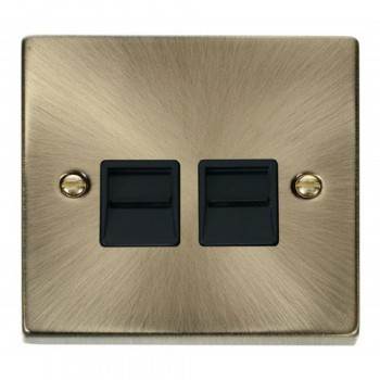 Click Deco Victorian Antique Brass Twin Telephone Socket Outlet Secondary with Black Insert