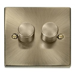 Click Deco Victorian Antique Brass 2 Gang 2 Way 400W Dimmer Switch