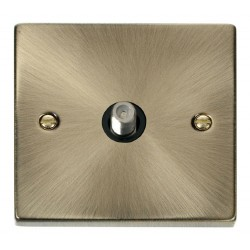 Click Deco Victorian Antique Brass 1 Gang Satellite Socket Outlet with Black Insert