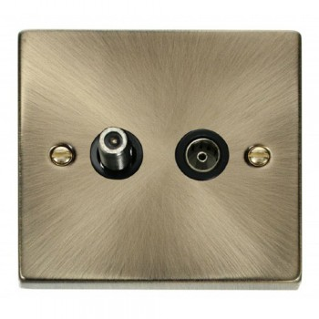 Click Deco Victorian Antique Brass 1 Gang Satellite and Isolated Coaxial Socket Outlet with Black Insert