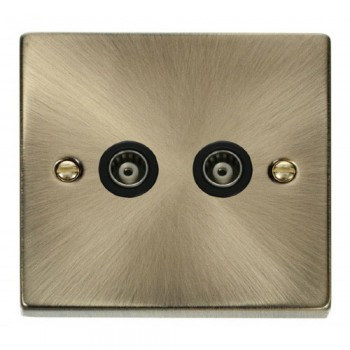 Click Deco Victorian Antique Brass Twin Isolated Coaxial Socket Outlet with Black Insert