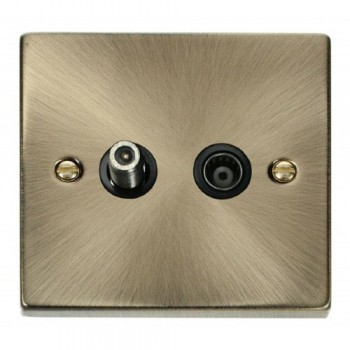 Click Deco Victorian Antique Brass 1 Gang Satellite and Coaxial Socket Outlet with Black Insert