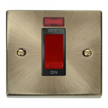 Click Deco Victorian Antique Brass 1 Gang 45A Double Pole Switch With Neon with Black Insert