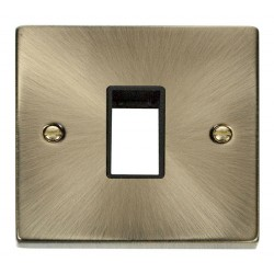 Click Deco Victorian Antique Brass 1 Gang Plate Single Aperture with Black Insert