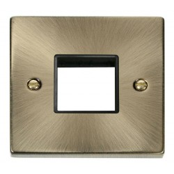 Click Deco Victorian Antique Brass 1 Gang Plate Twin Aperture with Black Insert