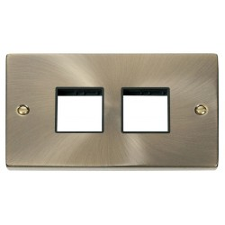 Click Deco Victorian Antique Brass 2 Gang Plate (2 x 2) Aperture with Black Insert