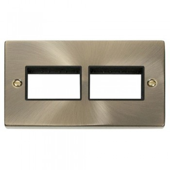 Click Deco Victorian Antique Brass 2 Gang Plate (3 x 3) Aperture with Black Insert