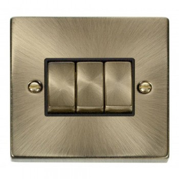 Click Deco Victorian Antique Brass 3 Gang 2 Way Ingot 10AX Switch with Black Insert
