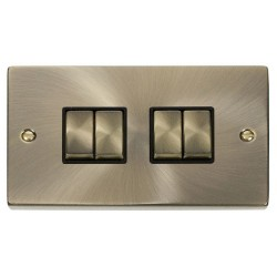 Click Deco Victorian Antique Brass 4 Gang 2 Way Ingot 10AX Switch with Black Insert