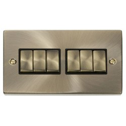 Click Deco Victorian Antique Brass 6 Gang 2 Way Ingot 10AX Switch with Black Insert