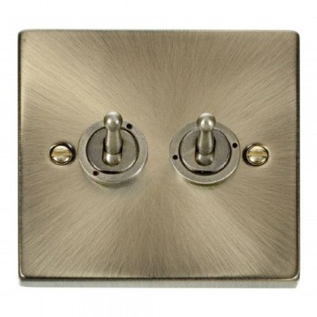 Click Deco Victorian Antique Brass 2 Gang 2 Way 10AX Toggle Switch