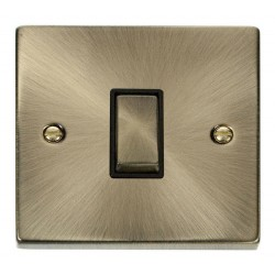 Click Deco Victorian Antique Brass 1 Gang Intermediate Ingot 10AX Switch with Black Insert