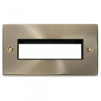 Click Deco Victorian Antique Brass 2 Gang Plate 6 In-Line Aperture with Black Insert