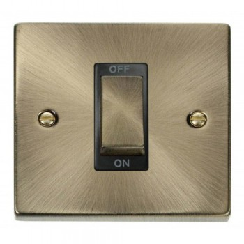 Click Deco Victorian Antique Brass Ingot 1 Gang 45A Double Pole Switch with Black Insert