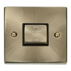 Click Deco Victorian Antique Brass 10A 1 Gang Ingot 3 Pole Fan Isolation Switch with Black Insert