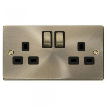 Click Deco Victorian Antique Brass 2 Gang 13A Double Pole Ingot Switched Socket Outlet with Black Insert