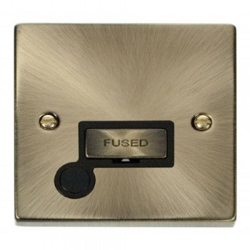 Click Deco Victorian Antique Brass 13A Fused Ingot Connection Unit With Flex Outlet with Black Insert