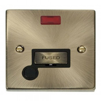 Click Deco Victorian Antique Brass 13A Fused Ingot Connection Unit With Flex Outlet with Neon with Black Insert
