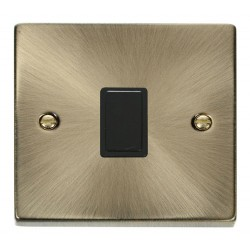 Click Deco Victorian Antique Brass 20A 1 Gang Double Pole Switch with Black Insert