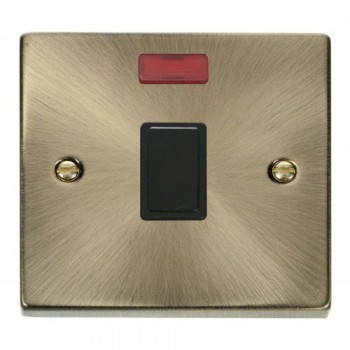 Click Deco Victorian Antique Brass 20A 1 Gang Double Pole Switch with Neon with Black Insert