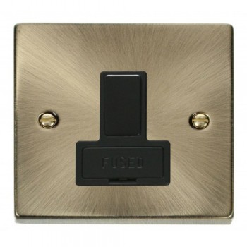 Click Deco Victorian Antique Brass 13A Fused Switched Connection Unit with Black Insert