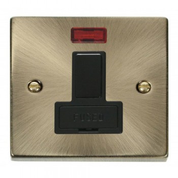 Click Deco Victorian Antique Brass 13A Fused Switched Connection Unit With Neon with Black Insert
