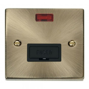 Click Deco Victorian Antique Brass 13A Fused Connection Unit With Neon with Black Insert