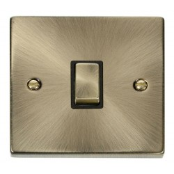 Click Deco Victorian Antique Brass 20A 1 Gang Double Pole Ingot Switch with Black Insert