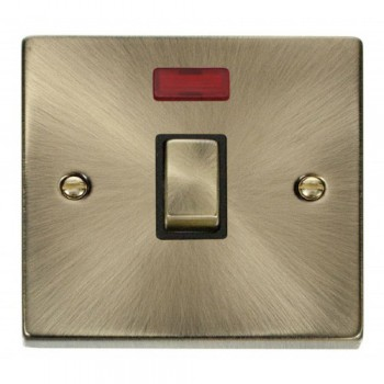 Click Deco Victorian Antique Brass 20A 1 Gang Double Pole Ingot Switch with Neon with Black Insert