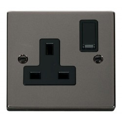 Click Deco Victorian Black Nickel 1 Gang 13A Double Pole Switched Socket Outlet with Black Insert