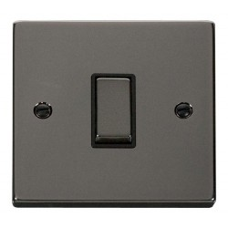 Click Deco Victorian Black Nickel 1 Gang 2 Way Ingot 10AX Switch with Black Insert