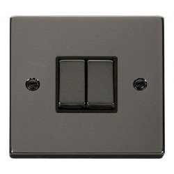 Click Deco Victorian Black Nickel 2 Gang 2 Way Ingot 10AX Switch with Black Insert