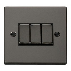 Click Deco Victorian Black Nickel 3 Gang 2 Way Ingot 10AX Switch with Black Insert