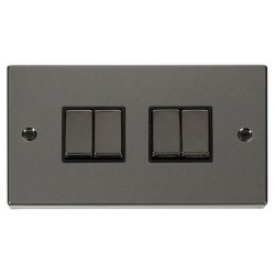 Click Deco Victorian Black Nickel 4 Gang 2 Way Ingot 10AX Switch with Black Insert
