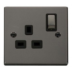Click Deco Victorian Black Nickel 1 Gang 13A Double Pole Ingot Switched Socket Outlet with Black Insert