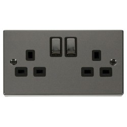 Click Deco Victorian Black Nickel 2 Gang 13A Double Pole Ingot Switched Socket Outlet with Black Insert