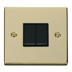 Click Deco Victorian Polished Brass 2 Gang 2 Way 10AX Switch with Black Insert