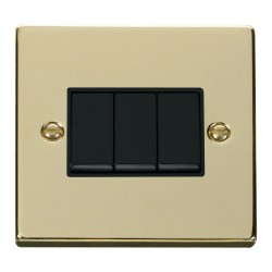 Click Deco Victorian Polished Brass 3 Gang 2 Way 10AX Switch with Black Insert