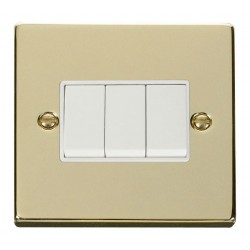 Click Deco Victorian Polished Brass 3 Gang 2 Way 10AX Switch with White Insert