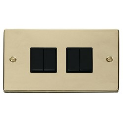 Click Deco Victorian Polished Brass 4 Gang 2 Way 10AX Switch with Black Insert