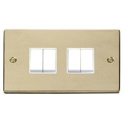 Click Deco Victorian Polished Brass 4 Gang 2 Way 10AX Switch with White Insert