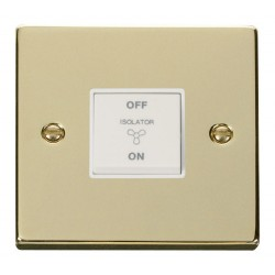 Click Deco Victorian Polished Brass 10A 1 Gang 3 Pole Fan Isolation Switch with White Insert