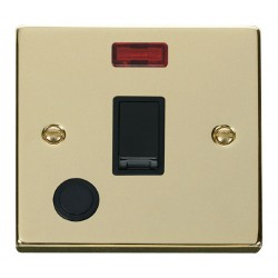 Click Deco Victorian Polished Brass 20A 1 Gang Double Pole Switch With Flex Outlet And Neon with Black In...