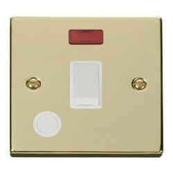 Click Deco Victorian Polished Brass 20A 1 Gang Double Pole Switch With Flex Outlet And Neon with White Insert