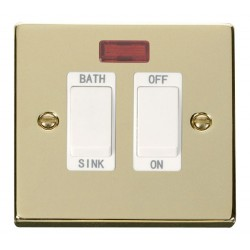 Click Deco Victorian Polished Brass 20A Double Pole Sink/Bath Switch with White Insert
